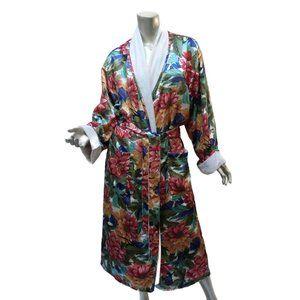 Cacique Satin Floral Maxi Robe 16-18  Terry Lined Sash
